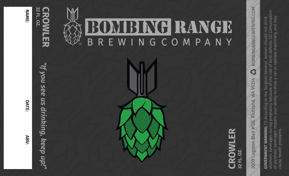 Bombing Range Brewing Company Crowler Label